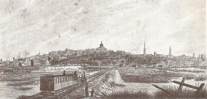 Trains crossing the Back Bay in 1844