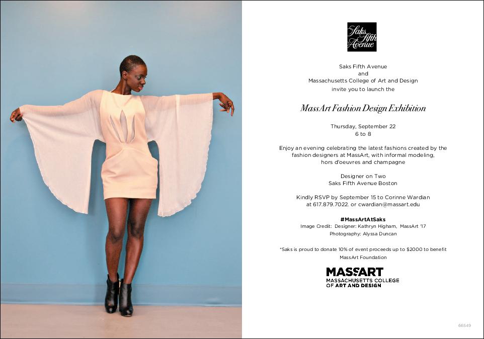 Saks fifth ave mass art fashion design exhibit launch back bay massart at saks event invitation stopboris Images