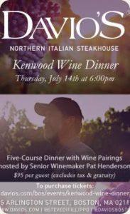 Kenwood Wine Dinner at Davio's Boston @ Davio's   Boston   Massachusetts   United States